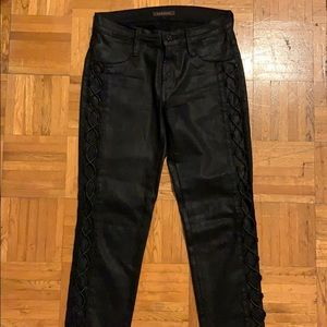 Black skinny jean with lace up on leg